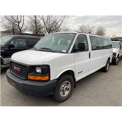 2005 GMC SAVANA 3500 SERIES, 6DR 14 PASS VAN, WHITE, VIN # 1GJHG39U651131787