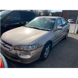 2000 HONDA ACCORD, 4DR SEDAN, BROWN, VIN # 1HGCG5666YA800987
