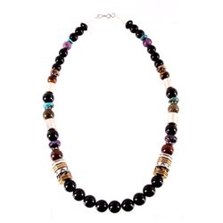 Navajo T&R Singer Gold & Sterling Stone Necklace