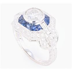 Art Deco Diamond & Blue Sapphire 18K Engraved Ring