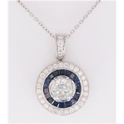 Art Deco Diamond & Blue Sapphire Platinum Necklace