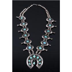 Navajo Carico Lake Silver Squash Blossom Necklace