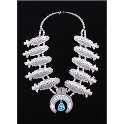 Navajo T Singer Chip Inlay Squash Blossom Necklace