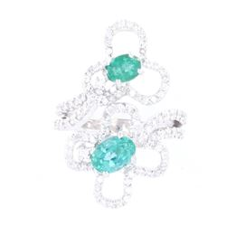 Floral Emerald & Diamond 14K Vintage Estate Ring