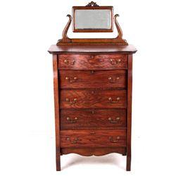 Antique Oak Veneer Mirrored Highboy Dresser