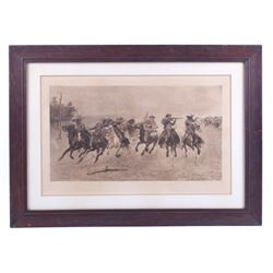 """Frederic Remington """"A Dash For The Timber"""" Etching"""