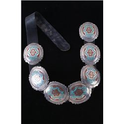 Navajo T. Singer Chip Inlay LARGE Concho Belt