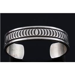 Navajo Signed Heavy Sterling Silver Bracelet
