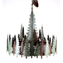 Sheridan Pine Tree Round Rustic Chandelier