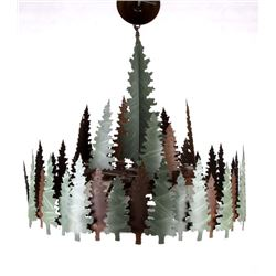 Rustic Sheridan Pine Tree Round Chandelier