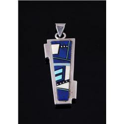 Sterling Silver Micro Inlay Multi Stone Pendant