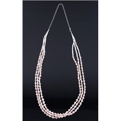 Pink Spiny Oyster & Sterling Multi Strand Necklace