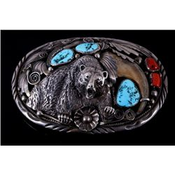 Navajo M. Thomas Jr. Bear Claw Silver Belt Buckle