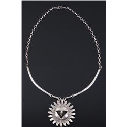 Navajo Nelson Morton Sunface Sterling Necklace