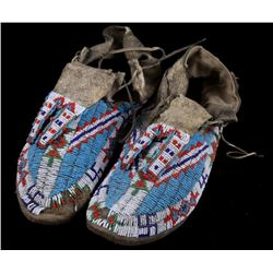 Sioux Fully Beaded Whirling Log Moccasins c. 1900