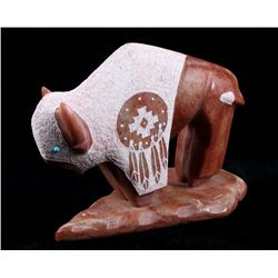 Signed Navajo Stone Carved Buffalo Sculpture