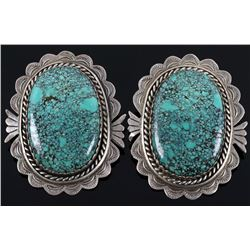 Navajo Number 8 Turquoise Sterling Silver Earrings