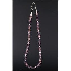 Navajo Sterling Silver & Sugilite Beaded Necklace