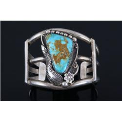 Navajo Cripple Creek Turquoise & Sterling Bracelet