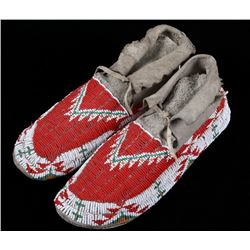 Sioux Fully Top Beaded Moccasins Mid-20th C.