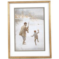 A. B. Frost Scribners Sons Framed Chromolithograph