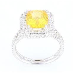 Vintage HANA Yellow Sapphire & Diamond 18K Ring