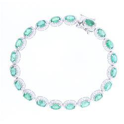 Luxury 8.21 ct Emerald & 2.56 Diamond 14K Bracelet