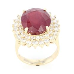 Mid-Century 10.56 ct. Ruby & Diamond 14K Ring