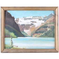 Original 1965 Carl Tolpo Lake Louise Oil Painting