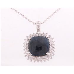 16.40 ct. Blue Sapphire Platinum Silver Necklace