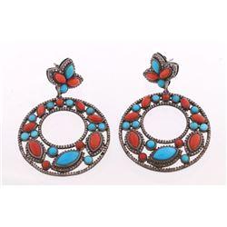 Art Nouveau Turquoise, Coral & Diamond Earrings