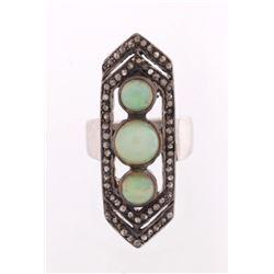 Art Deco Lightning Ridge Opal & Diamond Ring