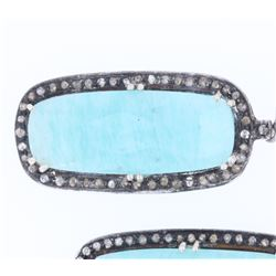 Blue Chalcedony & Diamond Antique Silver Earrings