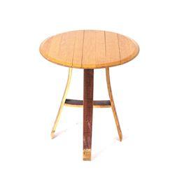 Oak Charred Whiskey Barrel End Table
