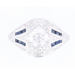 Art Deco Diamond & Blue Sapphire Platinum Ring