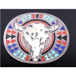 Zuni Sterling Steer Skull & Multistone Belt Buckle