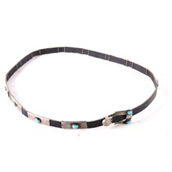 Two Navajo Sterling Silver & Turquoise Hatbands