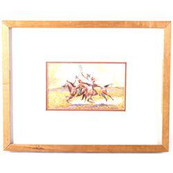 Original R. Freeman The Sioux Miniature Watercolor