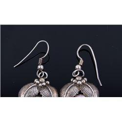 Signed Sterling Silver & Purple Agate Earrings