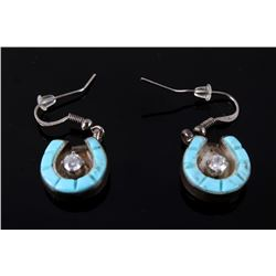 Navajo Silver Ray Sterling & Turquoise Earrings