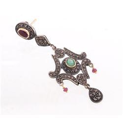 Edwardian Russian Emerald, Ruby & Diamond Earrings
