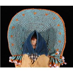 Sioux Beaded Papoose Cradle Board Toy c.1900