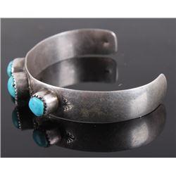 Navajo Signed Turquoise Child Silver Bracelet