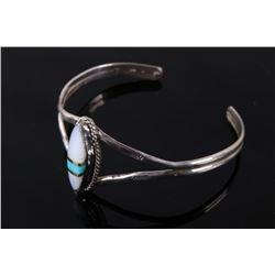 Signed Navajo Silver Quartz & Turquoise Bracelet