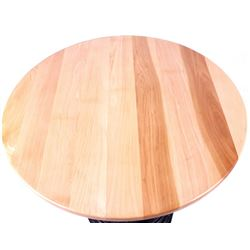 Round Oak Table With Cast Iron Base