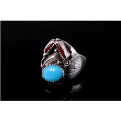 Signed Navajo Silver Turquoise & Coral Ring