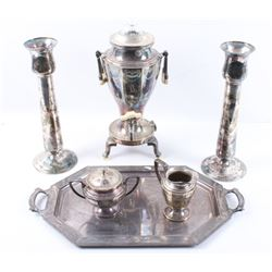 Wilcox Silver Plate Co Serving Set & Candle Sticks
