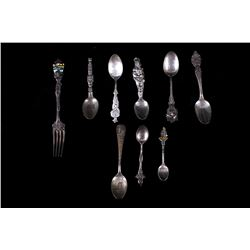 Collection of Sterling Silver Souvenir Spoons, etc