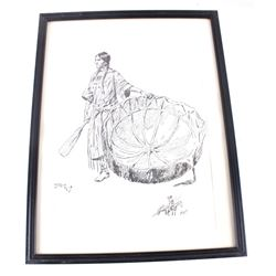 """Four 13"""" x 17"""" C.M Russell Sketches"""