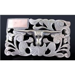 Mexico Sterling Long Horn Belt Buckle
